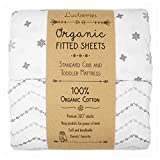 Luvberries - 100% Organic Cotton Fitted Crib Sheets (Set of 2), for Standard Crib and Toddler Mattresses, for Baby and Toddler, Boys & Girls, Unisex (Grey and White)