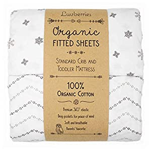 Luvberries – 100% Organic Cotton Fitted Crib Sheets (Set of 2), for Standard Crib and Toddler Mattresses, for Baby and Toddler, Boys & Girls, Unisex