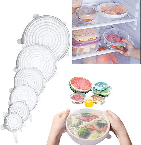 Couvercles Silicones Alimentaires 12PCS couvercles alimentaires Couvercles extensibles en silicone extensibles pour s'adapter à diverses formes de contenants Vaisselle Bols pour garder les aliments