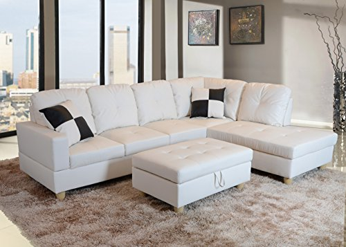 Lifestyle Furniture Right Facing 3PC Sectional Sofa Set,Faux Leather,White(LS092B)