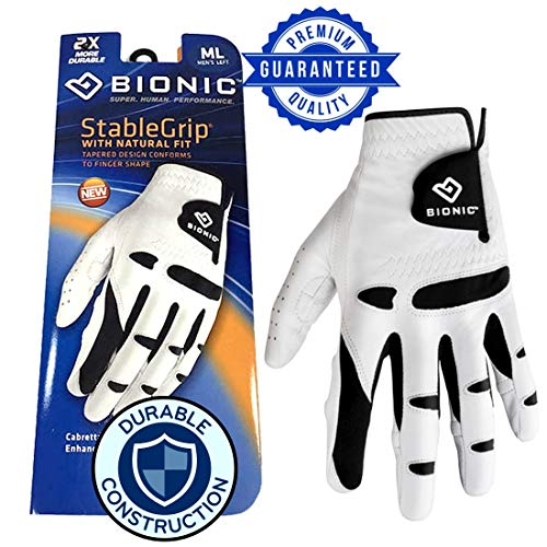New Improved 2018 Long Lasting Bionic StableGrip Golf Glove - Patented Stable Grip Genuine Cabretta Leather, Designed by Orthopedic Surgeon! (Men's Large, Worn on Right Hand)