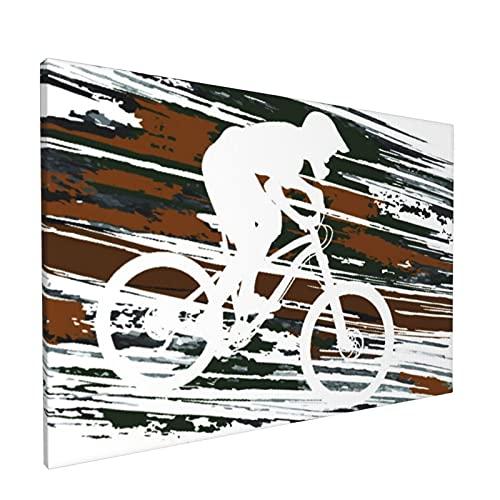 """Sin Marco Mural Impresiones en Lienzo,Ciclista Que desciende en una Bicicleta de montaña Deportes Recreación Carrera Acción Act,Oficina en Casa Decoración Mural Pintura al óleo Arte de Moda,18"""" x 12"""""""