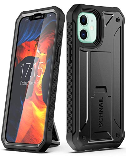 "Schnail Titan Compatible with iPhone 12 Mini Case 5.4""(Screenless Edition 2020), Military Grade Drop Tested Heavy Duty Full Body Protective Case with Kickstand - Black"