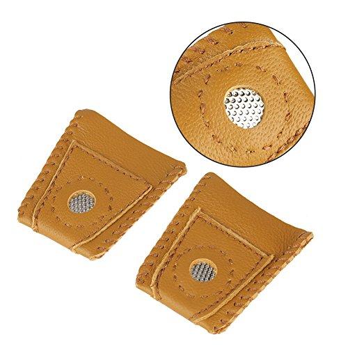 Buy Bargain Zyyini Large Size Leather Thimble, 2pcs Patchwork Thimble Finger Sets with Metal Tip Han...