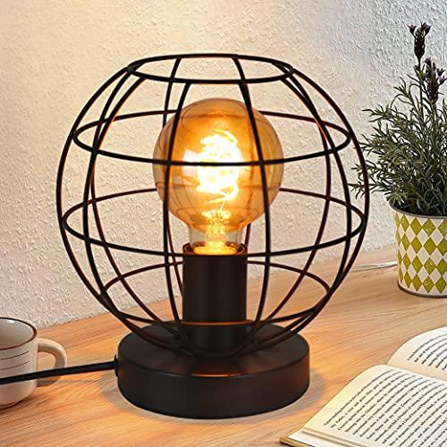 ZMH Lampada da Tavolo Industriale Lampada da Comodino Vintage - Nero Lampada da Scrivania con Paralume E27 Portalampada MAX 40W Lampada da Notte con Spina per Camera da Letto Soggiorno