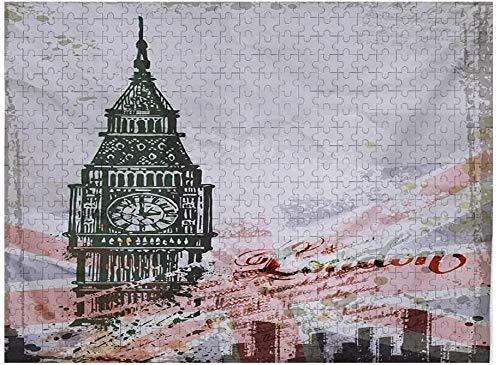 London 3D Puzzles para Adultos 1000 Piezas, ilustración Dibujada a Mano del Big Ben de Londres Inglaterra Bandera Vintage diseño histórico de la Ciudad impresión, Gris