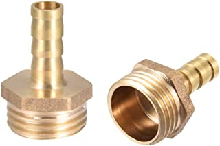 uxcell Brass Hose Barb Fitting,Connector,8mm Barb x G1/2 Male Pipe Adapter,2pcs