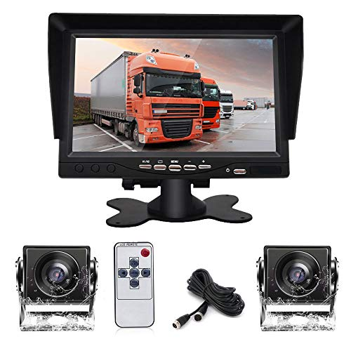 Dual Backup Camera System Kit with DVR, 7' HD Reversing Monitor +2 Rear View 170°Wide Angle Night Vision Waterproof Camera Fit for Trucks/RV/Van/Campers/Vehicles.