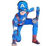 LGYCB Capitán América Ropa Medias, Cosplay Traje De Baile Vestido De Los Niños, para Niños Azules Bodysuit Onesies Apretado Set Juego De rol Animado De Prendas De Vestir,Blue-140cm