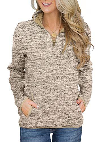 Aleumdr Women 1/4 Zipper Pullover Sweatshirt Long Sleeves High Collar Autumn Tops with Pockets Khaki XX-Large 18 20
