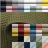 VmG-Store Waffelpique Meterware 25 Farben Waffel Stoff 100%