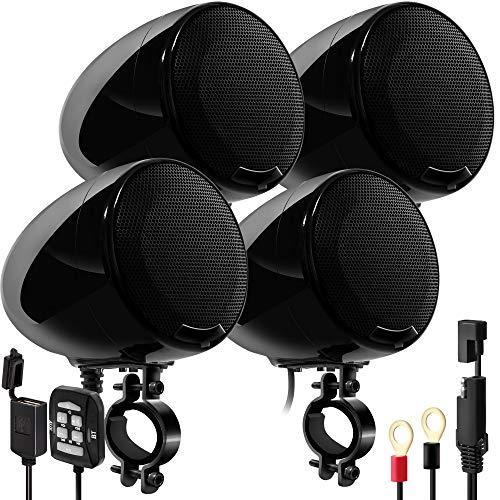 GoHawk AN4-QX Gen.2 All-in-One 1200W Built-in Amplifier 4.5' Waterproof Bluetooth Motorcycle Stereo...