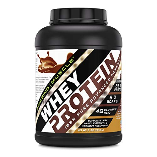 Amazing Muscle 100% Whey Protein Powder *Advanced Formula with Whey Protein Isolate as a Primary Ingredient Along with Ultra Filtered Whey Protein Concentrate (Chocolate, 5 Pound)