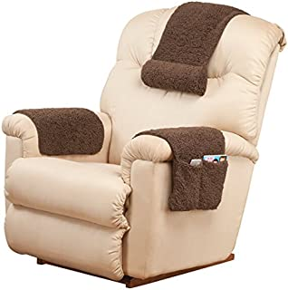 """OakRidge Miles Kimball 3-Piece Deluxe Set Sherpa Covers for Recliner Chair Armchair Cover Caddy 23"""" L x 14.5"""" W & Standard Armrest Cover 23"""" L x 14.5"""" W & Headrest Cover 20"""" L x 13"""" W Brown"""
