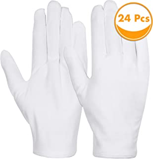 White Cotton Gloves, Anezus 12 Pairs Cotton Gloves Large Cloth Gloves for Women Dry Hands Eczema Moisturizing Serving Archival Cleaning Coin Jewelry Silver Costume Inspection