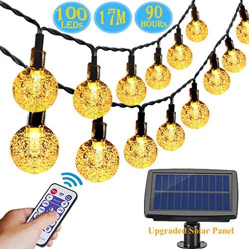 Solar Lichterkette Außen, Aenamer 100 Led Garten Kristall Kugeln Lichterkette 17 Meter, Wasserdicht Warmweiß Lichterkette mit Fernbedienung für Bäume Terrasse Hochzeiten Partys Weihnachten