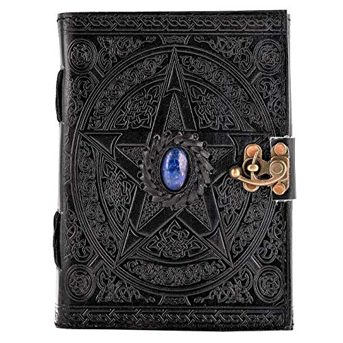 Urban Leather Book - Black Celtic Star Lapiz Journal - Gemstone Studded Handmade Vintage Sketchbook Writing Notebook, Unlined