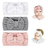 Makone Baby Stirnband, Elastisches Nylon Baby Haarband Mädchen Schleifen Stirnband, 3 Stück in Verschiedenen Farben Haarschmuck für Kinder Neugeborenes