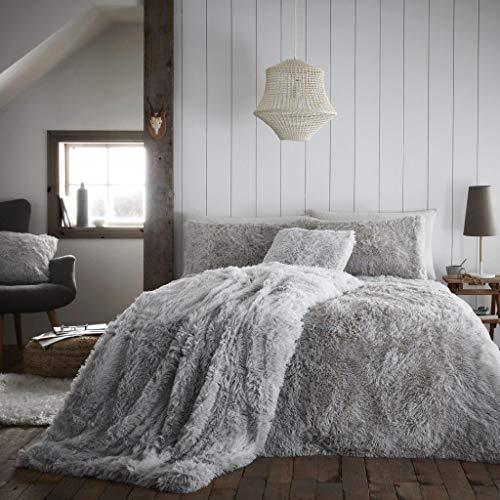RB River Bank Shaggy Duvet Cover Set Pillowcase Fluffy Hug & Snug Fleece Bedding Warm Cozyg (Silver, Double)