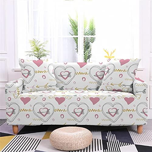 Meiju Fundas de Sofá Elasticas de 1 2 3 4 Plazas Impresión Amor Ajustables Antideslizante Cubierta de Sofá Lavable Extensible Funda Cubre Sofas Furniture Protector (Dorado,4 plazas - 235-300cm)