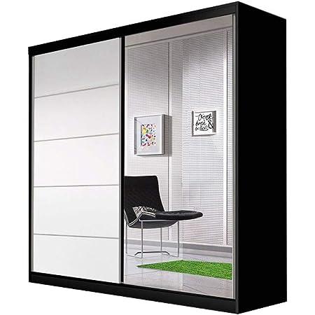 E-MEUBLES Armoire de Chambre avec 2 Portes coulissantes | Penderie (Tringle) avec étagères (LxHxP): 183x218x61 TESS BIS03 (Noir+ Blanc)