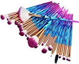 ASDFG Make up Brushes 20pcs Cosmetic Makeup Brush Set for Blending Foundation Powder Blush Concealers Highlighter Eye Shadows Brushes Kit (Green),Purple