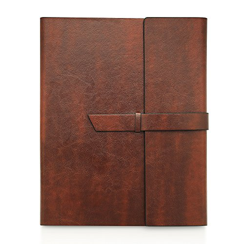 Gallaway Leather Padfolio Portfolio Folder -fits Letter Legal A4 Notebooks Notepads - Organizer Notebook Holder case for Executives Salesmen Professionals Interview Folio - Dark Chocolate