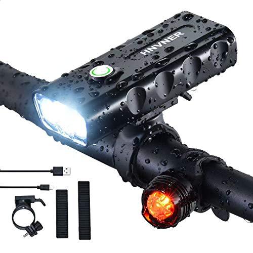 LED Fahrradlicht Set,3 Licht-Modi, IPX5 Wasserdicht 5200mAh Li-ion Licht Fahrradlichter,USB Wiederaufladbare Fahrradlampe Frontlicht Fahrradbeleuchtung für Mountainbike