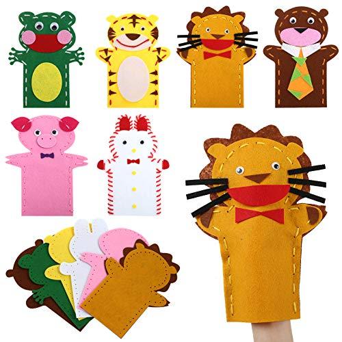 LEMESO 6 pz Bambini Fai da Te Burattini da Mano Marionette Kit Feltro Craft Giocattoli Attività Creativa Divertenti Giochi di Ruolo Lavoretti Animali Strumenti Didattici Class Suola Materna