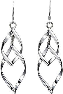 Acxico Multilayer Leaves Shape Pendant Stud Earrings