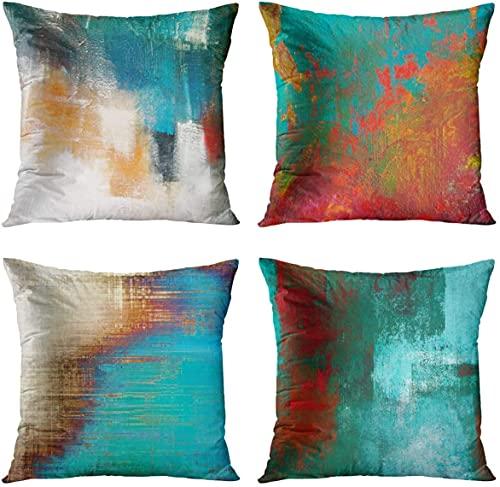 Juego de 4 fundas de almohada decorativas de 45 x 45 cm, para decoración del hogar, para cama, sofá, sofá, exterior, color turquesa (verde azulado y naranja)