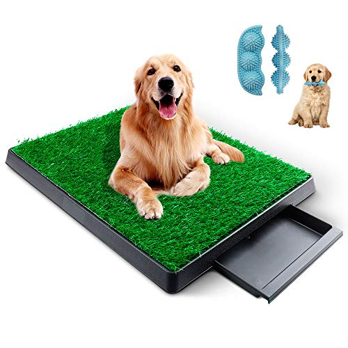 KZNANZN Dog Grass Pad with Tray,Artificial Grass Turf Professional Potty Patch with Drawer Indoor/Outdoor Training Dog Pee Potty Pad,Suitable for Medium and Small Dog -with a Dog Chewing Toy
