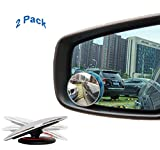 Blind Spot Mirror Adjustable Blind Spot Mirror Stick On Blind Spot Mirrors Frameless 2' Round HD Glass Convex Rear View Mirror, Pack of 2 by RT CARE