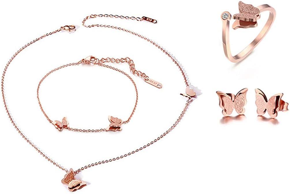 Cupimatch Butterfly Bracelet Ring Earrings Necklace Set, 18k Rose Gold Plated love Jewelry Gift Set for Women Girls