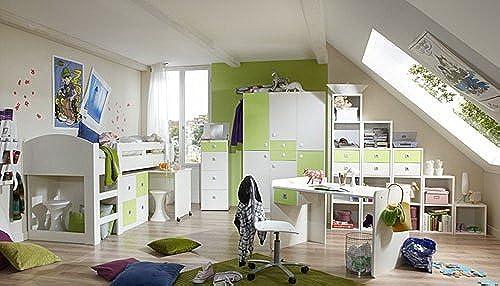 lifestyle4living Jugendzimmer 2-t.g in AlpinWeiß mit Abs. in Apfel-Grün, 3-TRG. Kleiderschrank B. 135 cm, Hochbett mit Schreibtisch und Kommode B  204 cm