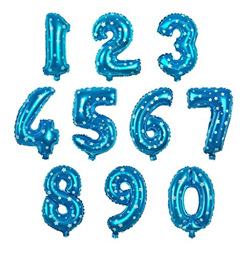 Chakil Lot de 10 ballons en aluminium pour Noël 0-9 Chiffres de Noël de 0 à 9 Mariage Festival Anniversaire Fête Célébration Ballons de Célébration Couleurs variées type 1
