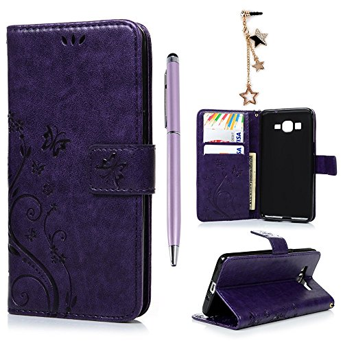 MOLLYCOOCLE Galaxy Grand Prime G5308/G530H Wallet Case, PU Leather Crystal Embossed Florals Kickstand Magnetic Flip Case Card Holders Slots Hand Strap Case Cover for for Samsung Galaxy Grand Prime G5