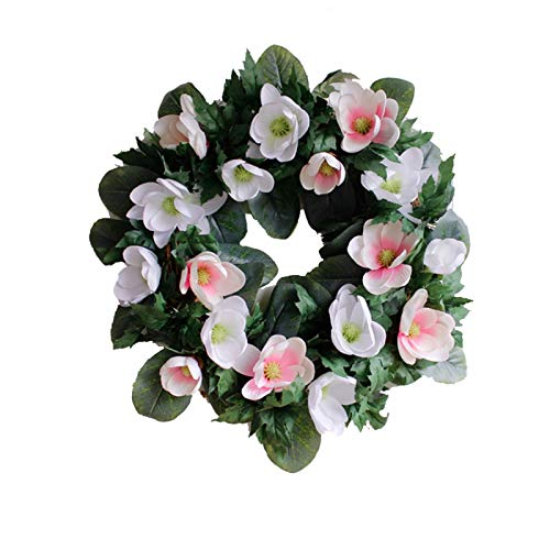 Christmas Wreath Artificial Magnolia Garland Handmade Natural Rattan Garlands Fall Garland Floral Ornaments For Christmas Outdoor Fireplace Windows Party Wall Home Decor Gift ( Color : White+Pink )