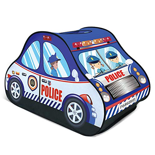 FUN LITTLE TOYS Police Car Pop Up Play Tent for Kids, Toy Playhouse for Indoor & Outdoor, Gifts for Boys & Girls