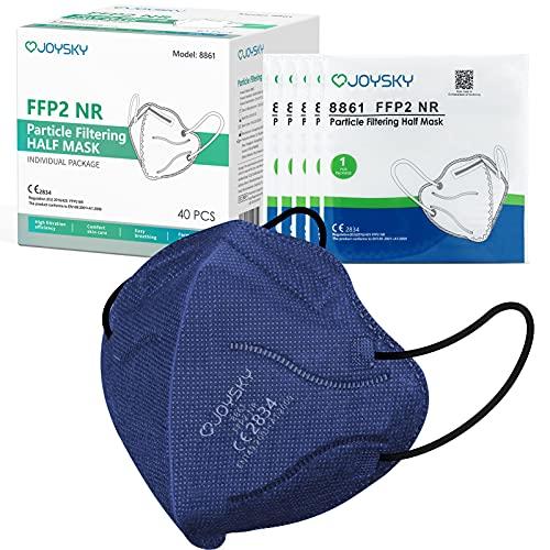 JOYSKY Mascarillas Faciales Desechables FFP2, 40pcs Mascarilla de Protección de 5 Capas, Mascara de Filtración Multicapa Antipolvo para Boca y Nariz, Azul