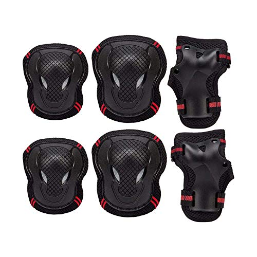YuuHeeER Rodilleras cómodas ajustables con los guardias de muñeca niños equipo protector conjunto para la protección multideporte