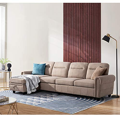 Walsunny Convertible Sectional Sofa Couch with Reversible Chaise, L-Shaped Couch 4-seat Sofas with Modern Chenille Fabric for Living Room(Dark Beige)