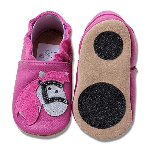 HOBEA-Germany Baby Lauflernschuhe Tiermotiv mit Anti-Rutsch-Sohle, Kinder Hausschuhe Mädchen & Jungen, Lederschuhe Baby (26/27 (30-36 Mon), Pferd pink)