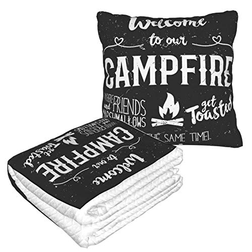 YISHOW Vintage Wood Quote Saying Welcome to Campfire Fire Pit Warm Ultra Soft Fleece Couch Travel Chair Throw Pillow Blanket for Women Men Livingroom Bedroom Camping Cars Airplane