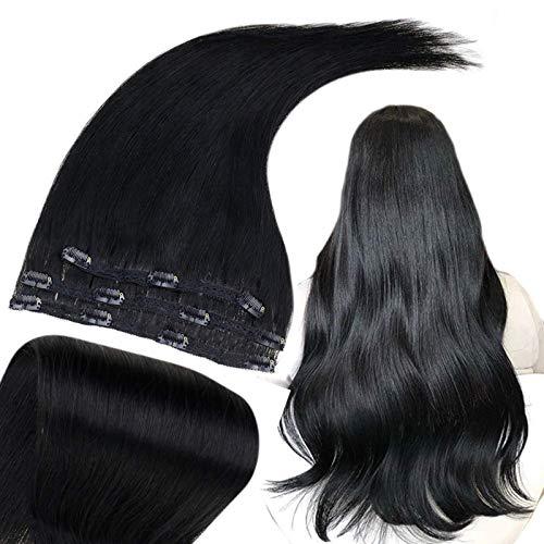 Runature Clip Extension Cheveux Long 20 Pouces Couleur Unie 1 Noir De Jais (3Pcs, 50g) Cheveux Raides Human Extensions Cheveux