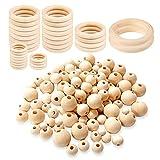 Anelli di legno perline di legno,Perline di legno per artigianato fai da te,Filato di macramè,Perline di legno rotonde,Set di perline in legno naturale,Perline di legno e set di anelli in legno (DIY)