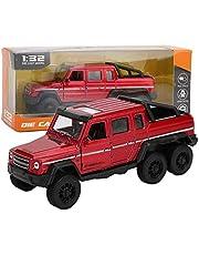 1:32 Vehículo Todoterreno Colección de Modelos Juguete de camioneta de aleación con Sonido y luz Tire hacia atrás Coche Miniatura Decoración para el hogar Regalos de cumpleaños Niño(Rojo)