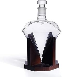 Light Whisky Karaffe in Form eines Diamanten, Dekanter mit luftdichtem Verschluss, Holz-Ständer, Hergestellt in Handarbeit