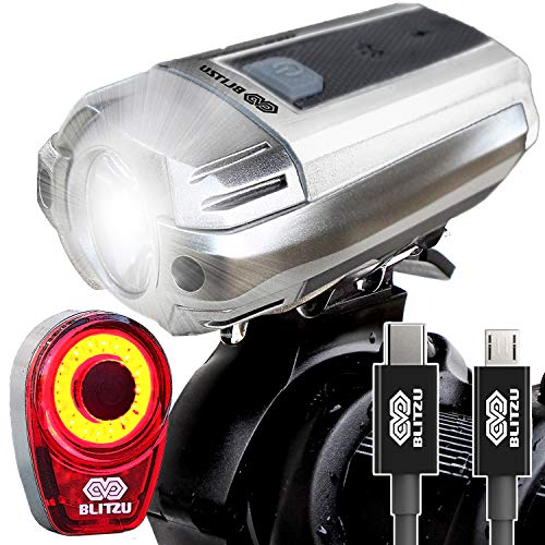 BLITZU Gator 390 USB Rechargeable LED Bike Light Set, Bicycle Headlight Front & Free Rear Back Tail Light. Waterproof, Easy to Install for Kids Men Women Road Cycling Safety Commuter Flashlight White