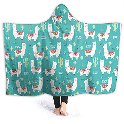 N \ B Alpaca No Prob-Llama and Cactus - Manta con capucha para sofá con capucha para bebé, niños, hombres, mujeres, 150 x 40 pulgadas